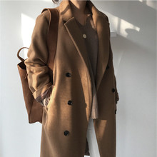 Women Elegant Winter Jacket wool Black Brown Oversize Overcoat Long Double-breas