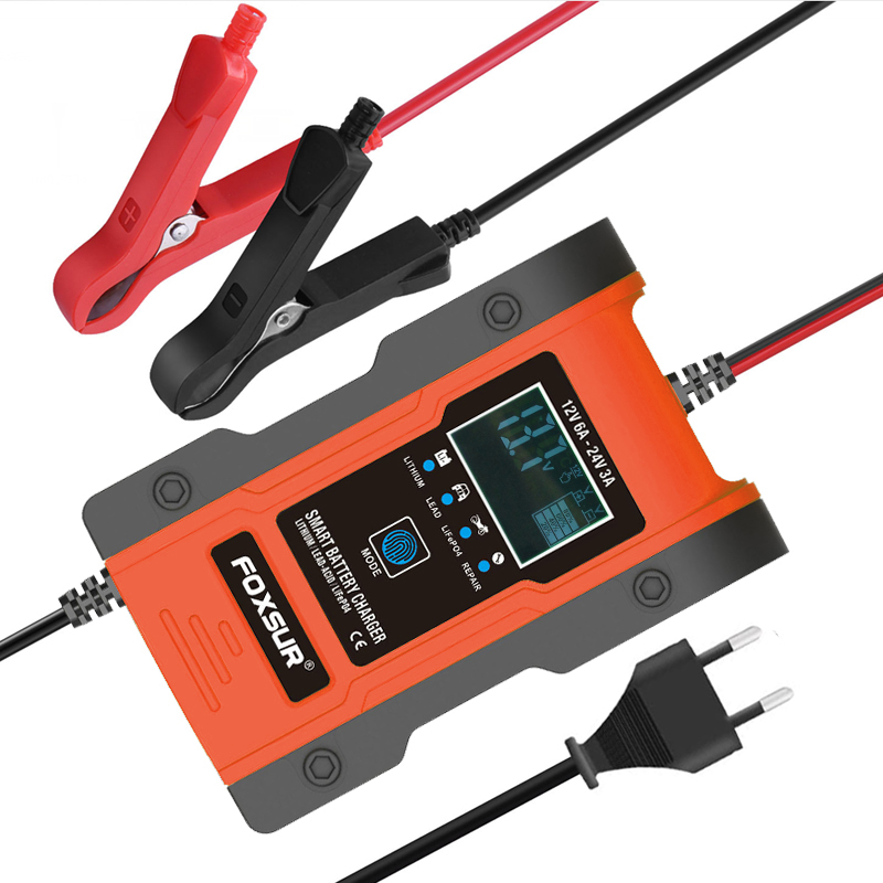 12V/24V 6Amp Intelligent Foxsur car motorcycle Automatic 7 Stage Lithium  Battery Charger, lead-acid batteries charger fre ship