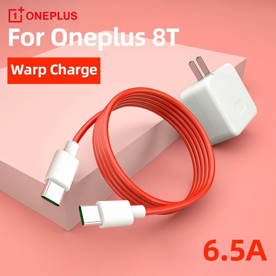Oneplus 8t original warp rápido carregador cabo 6.5a pd rápido usb tipo-c 3.1 para usb c cabo de dados para um mais 8t 8t + 5g tipo c longo