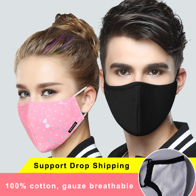 10Pcs Multi Color Cotton PM2.5 Black Mouth Mask Anti Dust Mask Activated Carbon Filter Windproof Mouth-muffle Bacteria Proof Flu