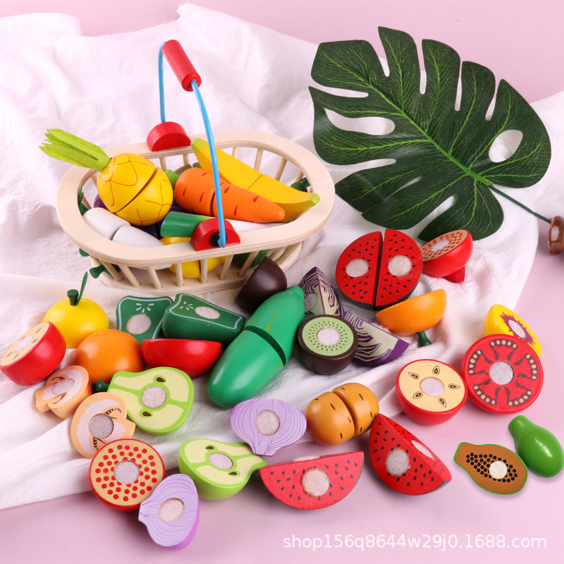Cut Fruit Educational Toy Wooden Velcro & Vegetable Fruit Cut Children Play House Kitchen Toy Single