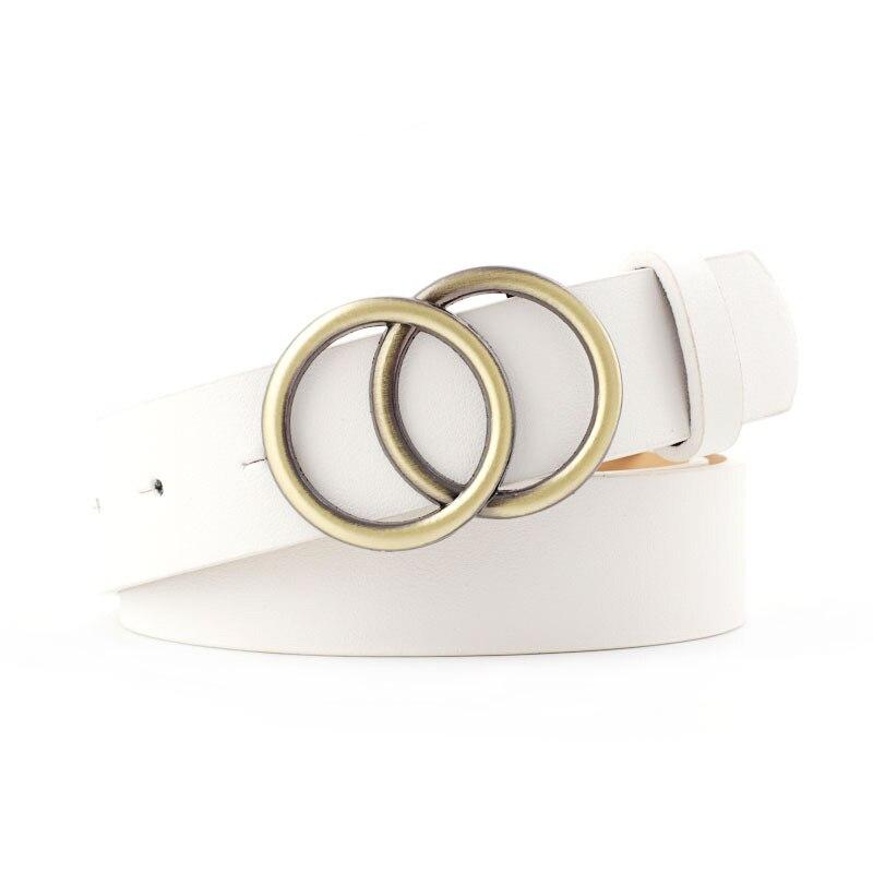 Мягкая искусственная кожа, двойное кольцо, пряжка, Ретро стиль, декоративный, Повседневный, подтягивающий, подходит ко всему, легкий, длинный, женский ремень с твердыми отверстиями - Цвет: White