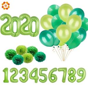Новые 32/40 дюймовые зеленые воздушные шары с цифровой фольгой, вечерние воздушные шары с изображением животных в джунглях, Детские праздничн...