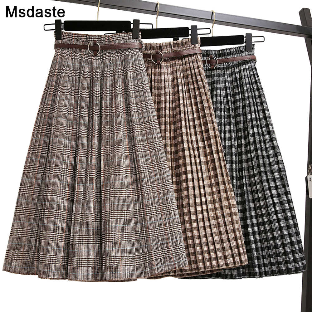 Plus Size 3XL Autumn Winter Women Woolen Skirts Plaid Mid Skirts 2019 New Casual Loose Ladies Office Skirts Elastic Waist Sashes