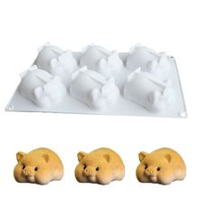 6 Holes DIY Golden Pig Shaped Cake Mold 3D Silicone Cute Chocolate Fond X4YE