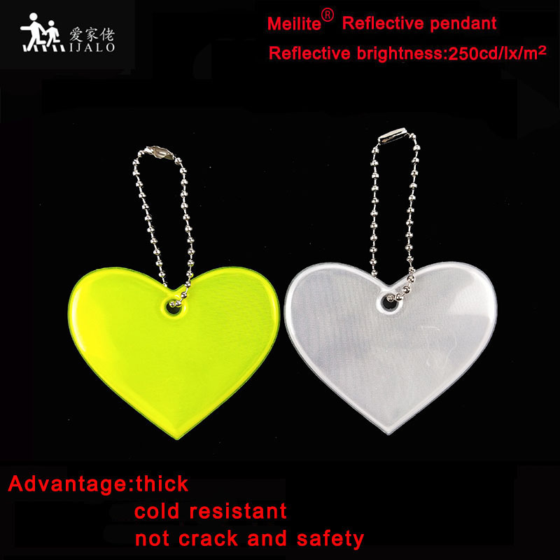 Meilite  Material 250 Candle Lights Soft Pvc Heart   Reflector Reflective Keychain Bag Pendant Accessories  For Traffic Safety