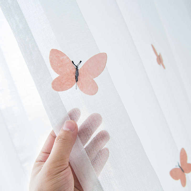 New three-dimensional Butterfly Special Embroidered Tulle Curtains for Girl Children's Bedroom Window Screen Sheer Living Room