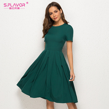 S.FLAVOR Women Summer A Line Dress Short Sleeve O Neck Knee Length Solid Dress New Fashion Women Vintage Green Midi Dresses