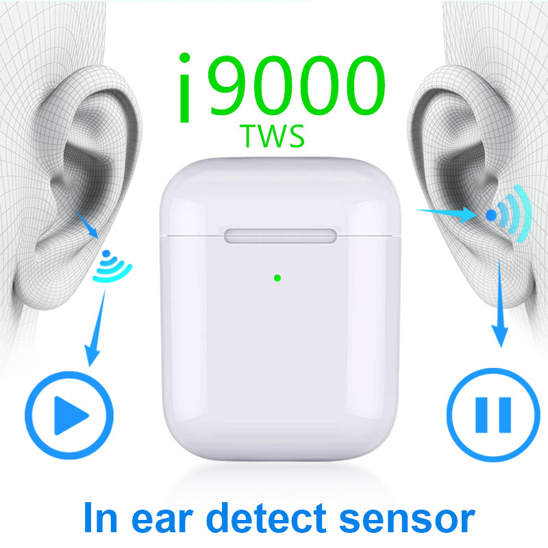 I9000 Tws 1:1 Smart Sensor 8D Bass Pop Up Wireless Charging Bluetooth Earbuds Earphone 8D Super Bass Pk W1 I200 I2000 I5000