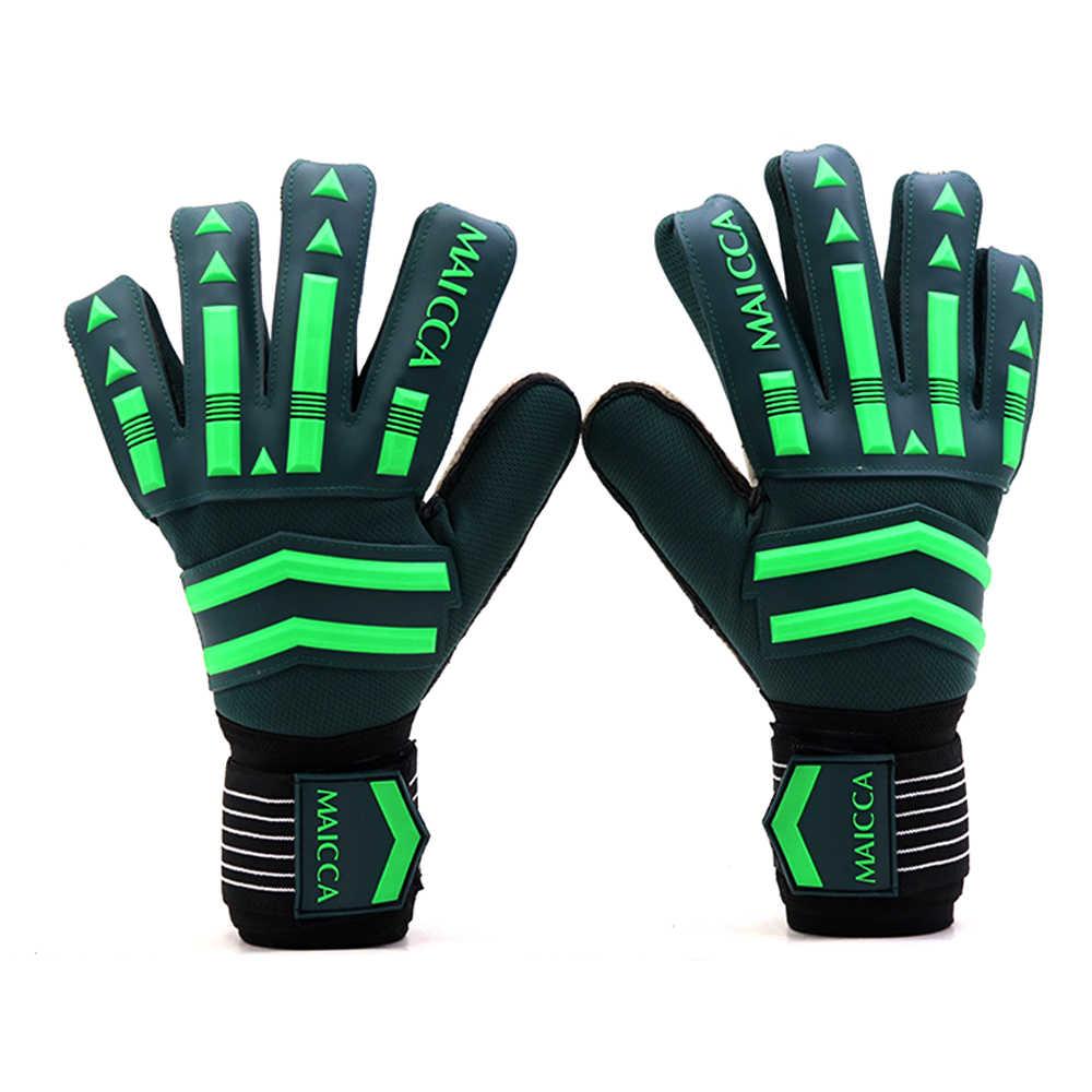 プロのゴールキーパー手袋強い指保護サッカーゴールキーパー手袋肥厚ラテックス強力な 5 指保護を保存