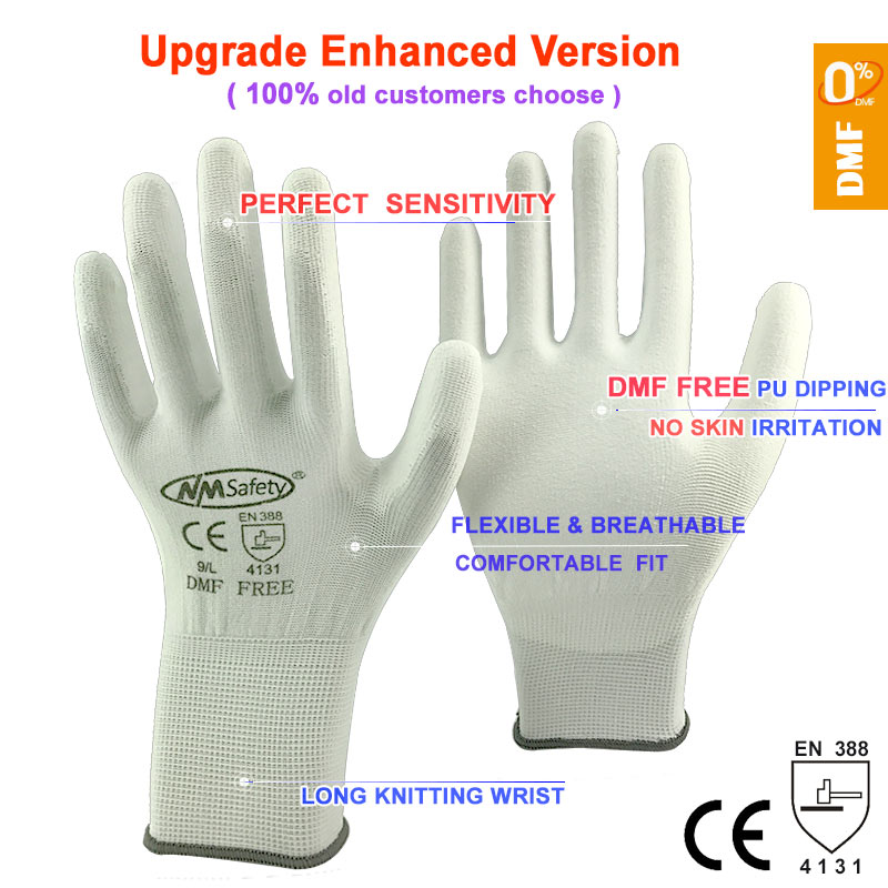 Image 5 - NMSafety 12 זוגות כפפות עבודת PU פאלם ציפוי בטיחות כפפהwork glovesgloves for workgloves work -