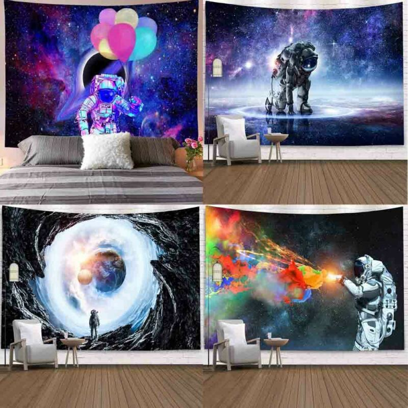 Planet Astronaut Wall Cloth Tapestries Galaxy Psychedelic Space Nasas Tapestry Hot Sale Wall Blanket Printed Bohemian Decor