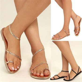 Sandals Women Summer Strappy Gladiator Low Flat Heel Flip Flops Beach Sandals Shoes Women Sandals Gladiator Casual Ankle Strap 8