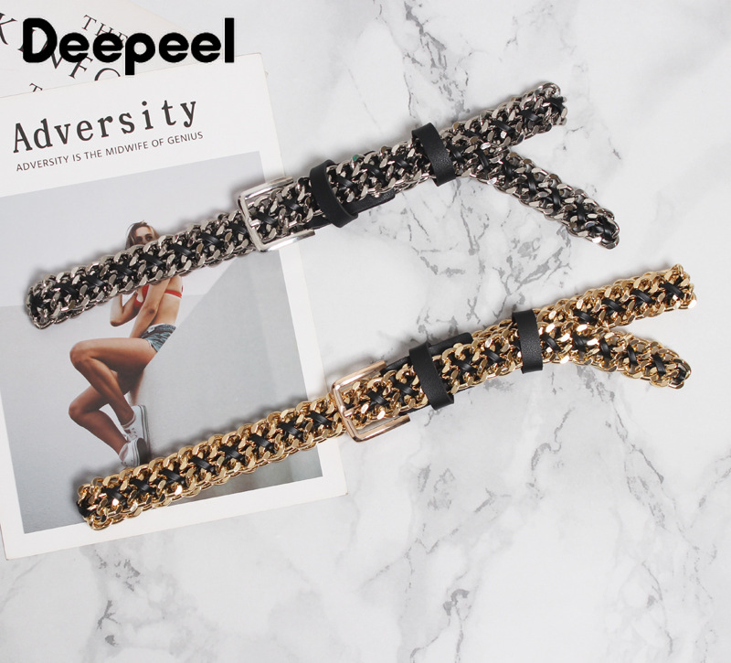 Deepeel 1pc 2.5cm*95cm Women Metal Chain Cummerbunds Black PU Silver Gold Chain Fashion Fine Girdle For Jeans Sweater Suit CB617