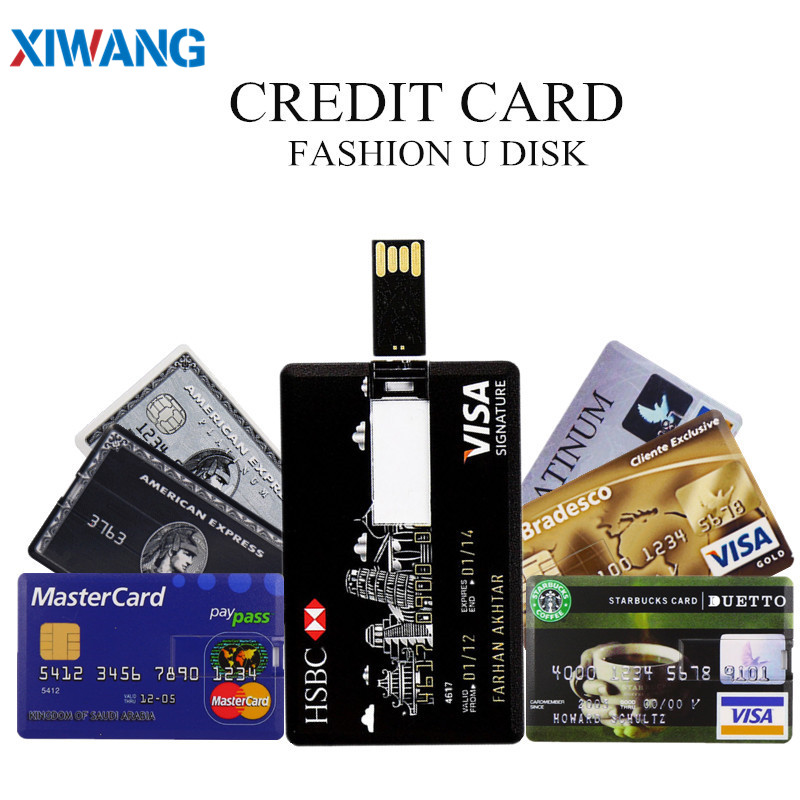 XIWANG hot sale USB Flash Drive credit card 128GB 64GB 32GB 16GB 8GB 4GB USB 2.0 Pen drive Pendriv portable HSBC cards best gift-in USB Flash Drives from Computer & Office