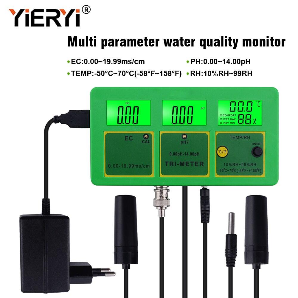 Yieryi 4 в 1 PH тестер качества воды EC RH монитор PH метр многопараметрический измеритель воды для аквариума