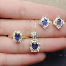 Natural sapphire S925 earrings, rings, pendants, luxurious for women to attend weddings and parties(China)