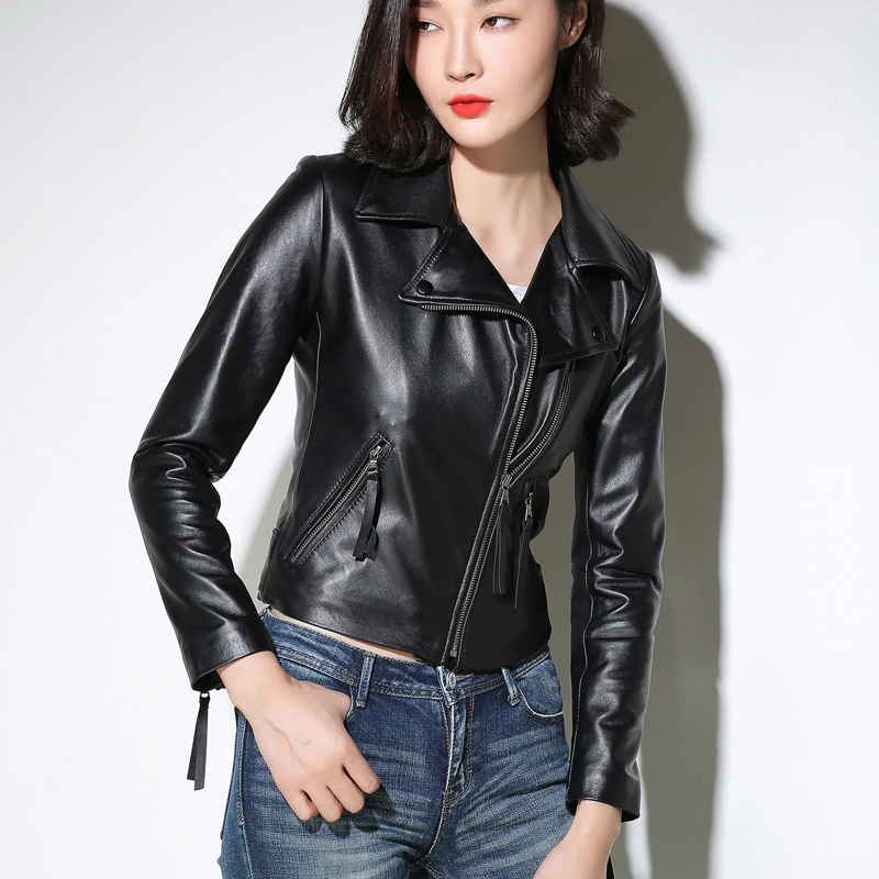 Winter Sheepskin Coat Women Autumn Clothes 2020 Ladies Genuine Leather Jacket Woman Moto Biker Real Leather Jackets 615