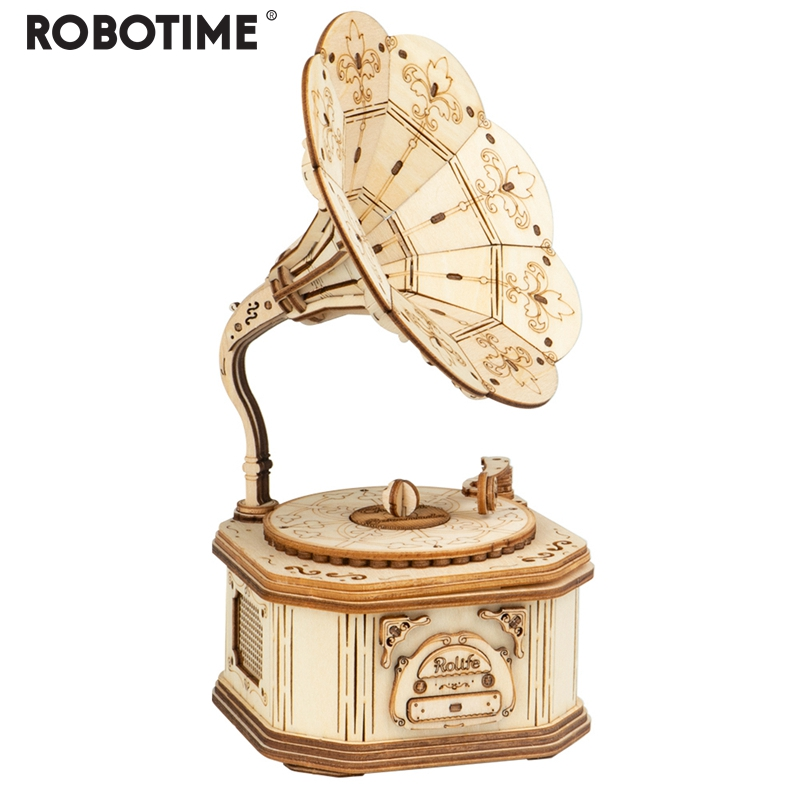 Robotime New Arrival DIY 3D Wooden Gramophone Model Building Kit Toy Gift For Children Friend