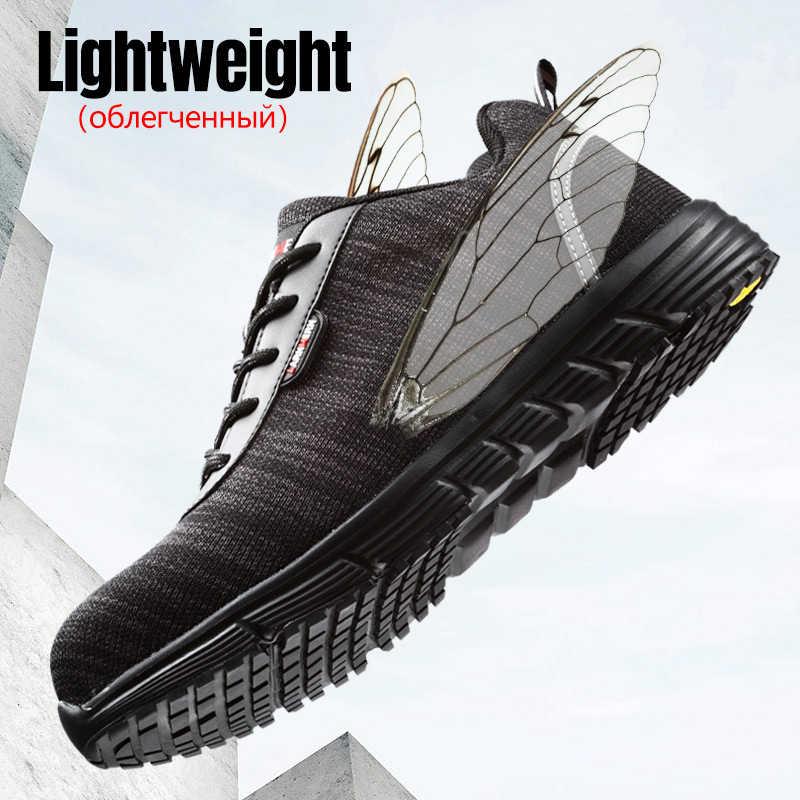 LARNMERN S1P erkekler güvenlik ayakkabıları çelik ayak anti-statik hafif nefes alabilen inşaat koruyucu ayakkabı