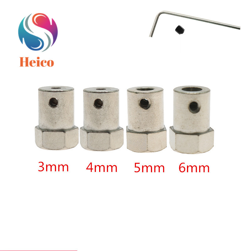 3/4/5/6mm Hexagonal Copper Shaft Coupling Connector Metal Connecting Shaft Coupler Hub For Robot Car Chassis DIY RC Toy
