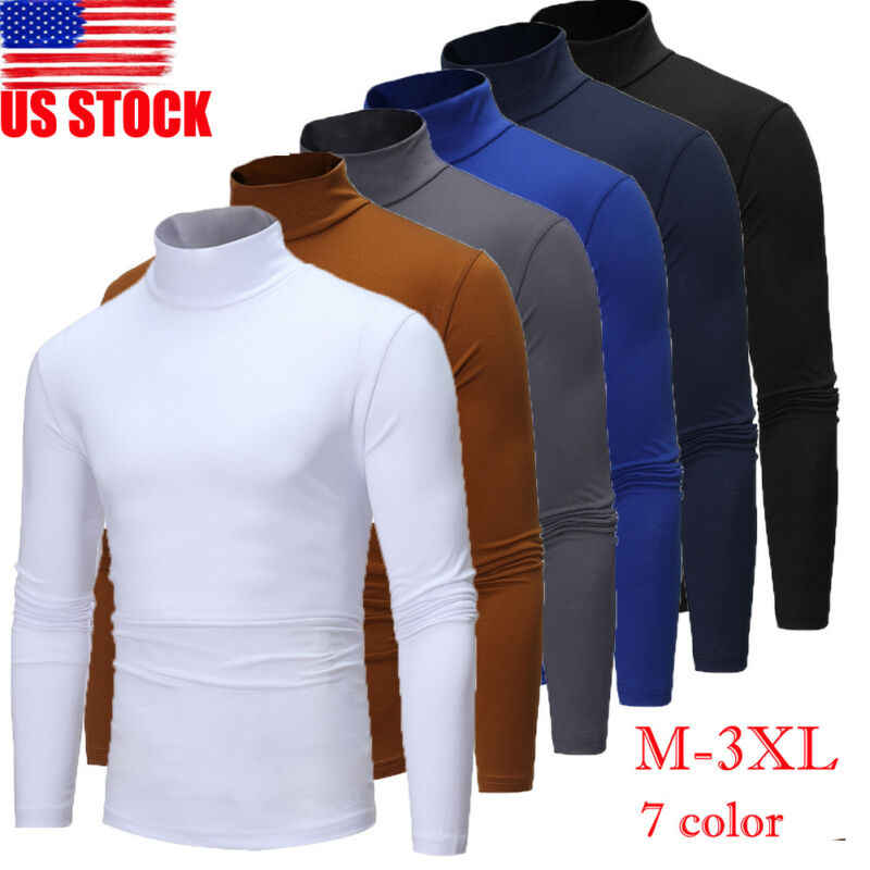 Autumn Winter Men's Thermal Long Sleeve Roll Turtleneck T-Shirt Solid Color Tops Male Slim Basic Stretch Tee Top
