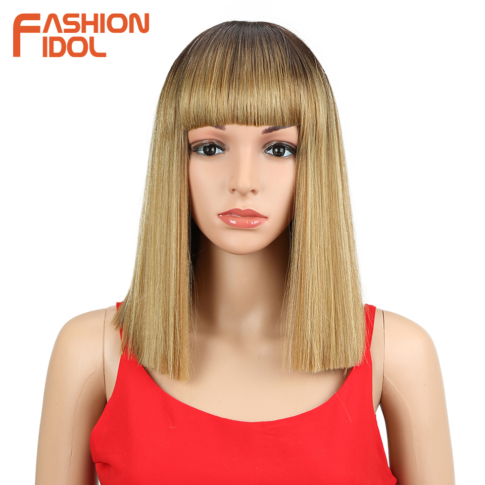 FASHION IDOL Short Bob Wigs For Black Women 14 inch Ombre 613 Blonde Linen Color Neat Fringe Straight Hair Synthetic Wig Cosplay-in Synthetic None-Lace  Wigs from Hair Extensions & Wigs