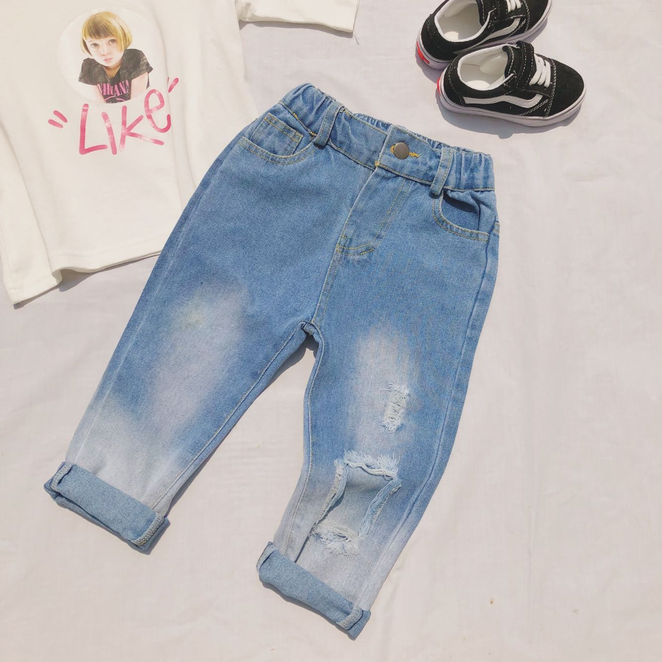2019 Summer New Style Childrenswear Men And Women <font><b>Children</b></font> Unisex Style with Holes Jeans <font><b>BF</b></font> Style Jeans image