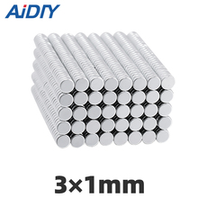AI DIY 50/100 pcs 3x1mm neodymium Mini Small magnets super strong powerful NdFeB magnet 3x1mm small round magnet square ndfeb magnet cubes silver 25 pcs