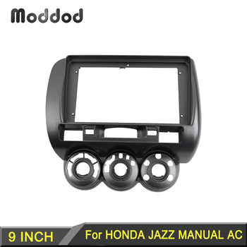 9 Inch Radio Fascias Fit for HONDA JAZZ MANUAL AC 2006 Stereo Panel GPS DVD Dash Surround Trim Kit Car Accessories Frame Bezel image