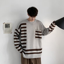 Winter New Sweater Men Warm Fashion Contrast Color Casual O-neck Sweater Pullover Men Hip-hop Striped Sweater Male Clothes men contrast binding striped tee