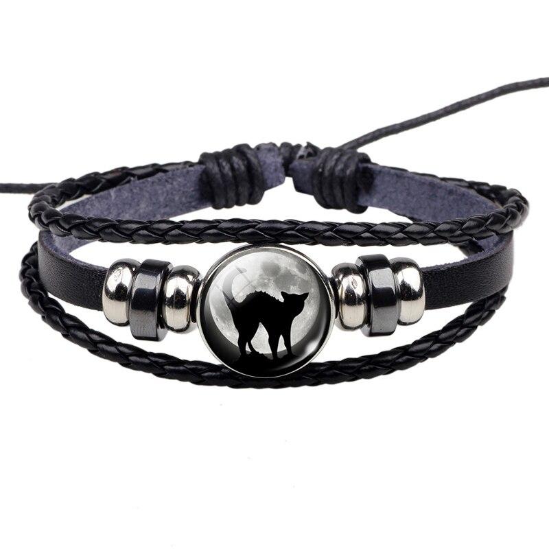 Black Cat Rope Bracelet Gothic Full Moon Jewelry Weave Multilayer Leather Bracelet Bangle Men Women Fashion Accessories