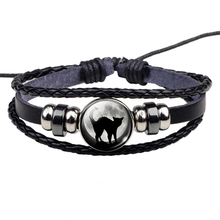 Black Cat Rope Bracelet Gothic Full Moon Jewelry Weave Multilayer Leather Bracelet Bangle Men Women Fashion Accessories недорого