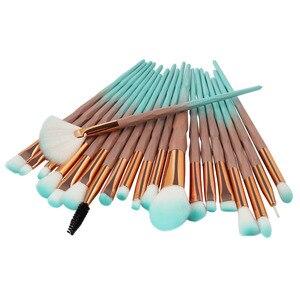 Image 5 - 20Pcs יהלומי איפור מברשות סט אבקת קרן סומק מיזוג צלליות שפתיים קוסמטי יופי איפור מברשת Pincel Maquiagem
