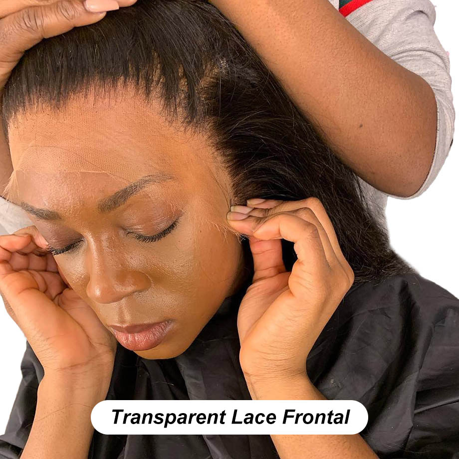 Hd Lace Frontal 13x6 Transparent Lace Brazilian Straight Frontal Human Hair Swiss Pre Plucked Deep kim k Free part Full Closure