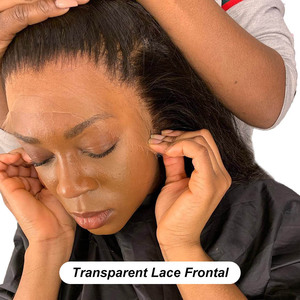 Hd Lace Frontal 13x6 Transparent Lace Brazilian Straight Frontal Human Hair Swiss Pre Plucked Deep kim k Free part Full Closure(China)