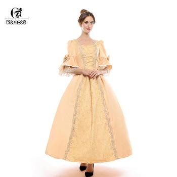 ROLECOS European Victorian Retro Dress Eight Color Renaissance Medieval Evening Dress Ball Gowns Princess Women Cosplay Costumes 1