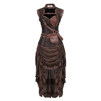 Steampunk Corsets Vest with Dress Burlesque Gothic Pirate Corset Bustier Faux Leather Skirts Women Plus Size Vintage Set Brown