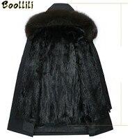 Boollili Mens Fur Parka Real Mink Fur Coat Men Winter Jacket Fox Fur Collar Warm Mens Mink Jackets Long Parkas