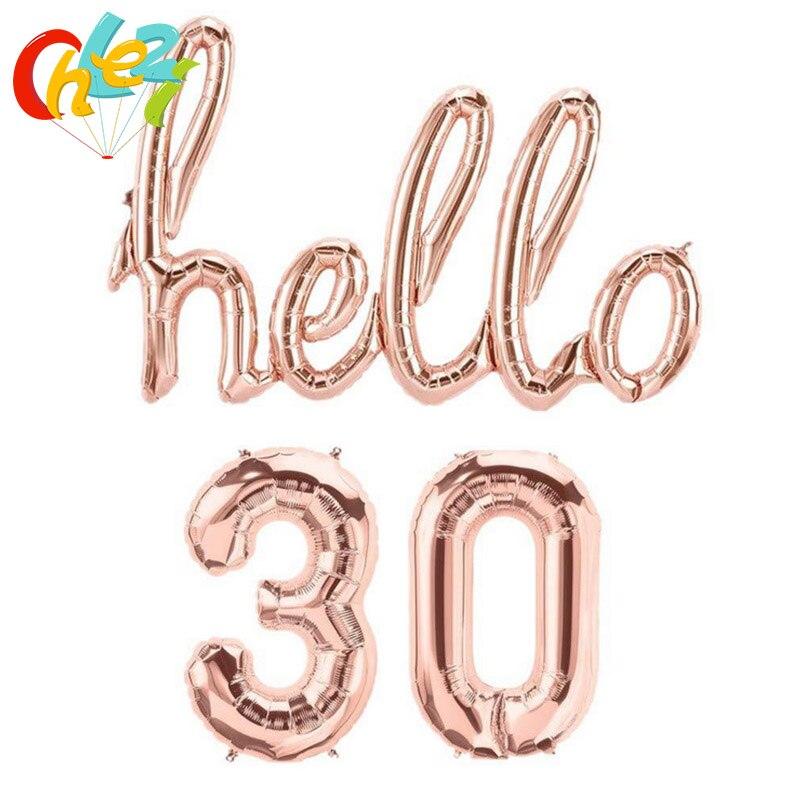1 conjunto de 16 polegada número da folha balão siameses letras olá 30 40 50 cor prata ouro rosa para festa aniversário decoração balões