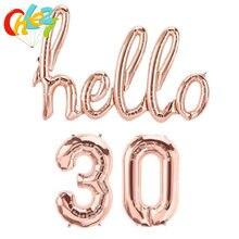Ensemble de ballons à chiffres en aluminium de 16 pouces, couleurs Rose, or, argent, hello 30, 40, 50, pour décoration de fête d'anniversaire, 1 ensemble