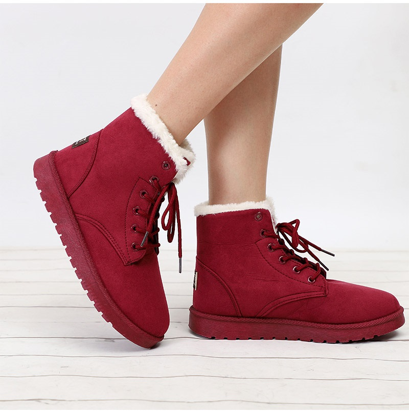 Women Flock Fur Flat Lace Up Winter Snow Suede Ankle Boots Female 45