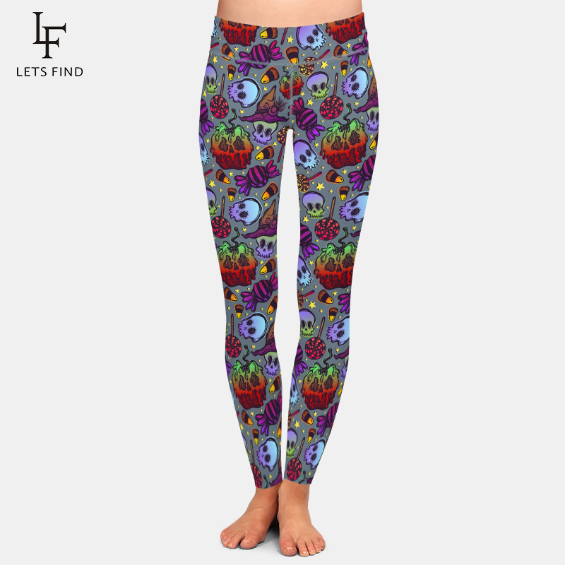 LETSFIND Autumn New Arrival Halloween Ghosts Series Print Women Leggings High Waist Elastic Fitness Warm Girl Leggings