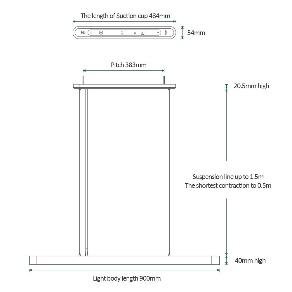 Yeelight inteligente led pingente lâmpada jantar luzes suporte app controle remoto colorido atmosfera para sala de jantar restaurante - 5