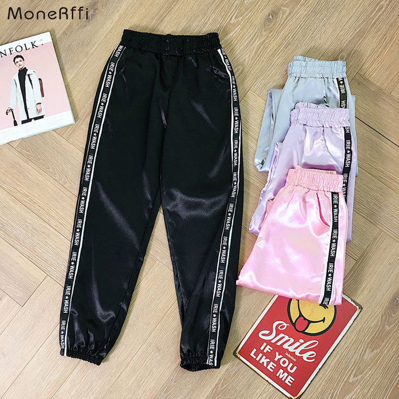 MoneRffi Satin Highlight Pants Big Pocket Women Glossy Sport Ribbon Trousers BF Harajuku Joggers Women's Sports Pants