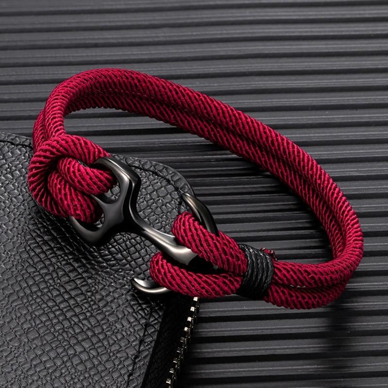 MKENDN Anchor Bracelets Men Double strand Nautical Survival Rope Paracord Bracelet Women Black Stainless Steel Sport Buckle
