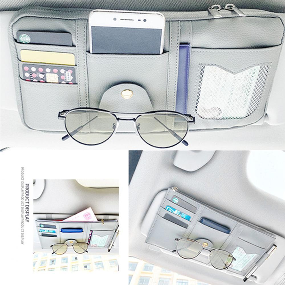 clip de support de verres de stockage de carte de sac dorganisateur de pare-soleil de voiture automatique Organisateur de pare-soleil Beige