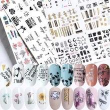 36 peças adesivos para unhas, conjunto floral, geométrico, sexy, menina, arte em unha, decalques de transferência com flores, sliders de manicure tr974