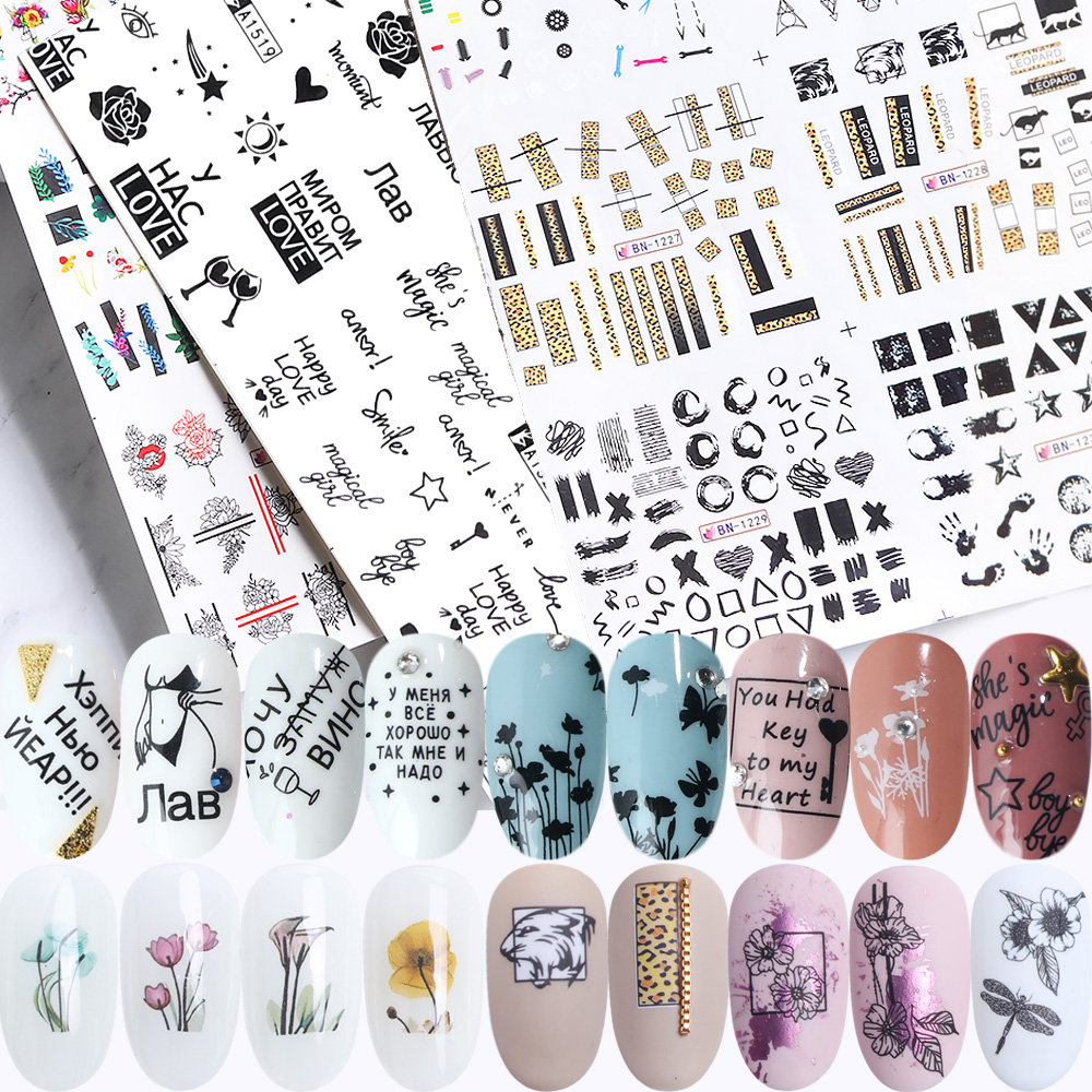 36pcs Nail Stickers Set Mixed Floral Geometric Sexy Girl Nail Art Water Transfer Decals Flowers Tattoos Sliders Manicure TR974