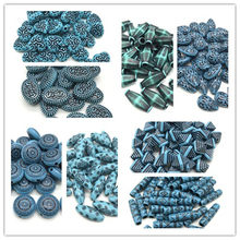 Blue Round Leaves Water Drops Heart Shape Acrylic Vintage Beads For Jewelry Making DIY Bracelet Necklace